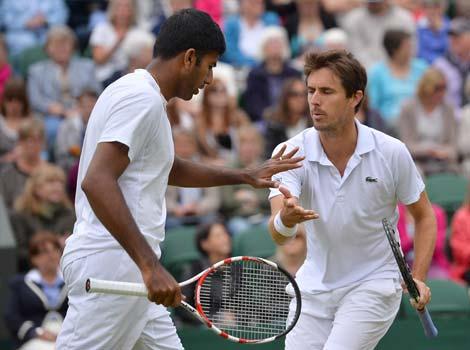 Edouard et Rohan avaient beaucoup travaillé leur tennis à l'aveugle (photo : Hindustan Times)